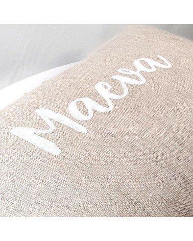 coussin personnalisé en lin naturel, prénom blanc