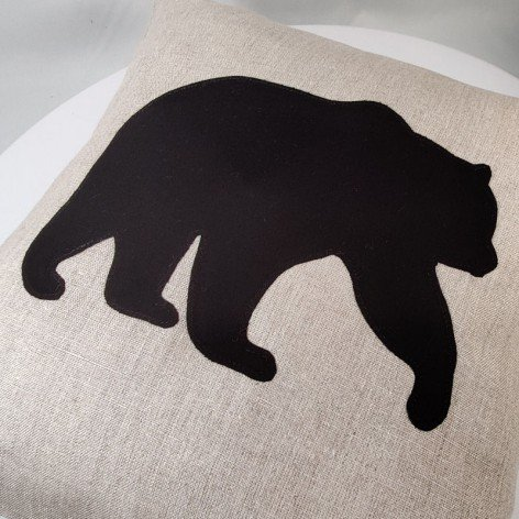 Housse de coussin ours brun en lin naturel 40x40 cm