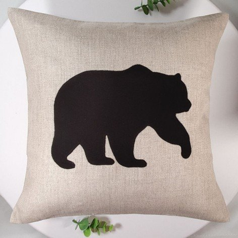 Housse de coussin 40x40 cm en lin ours brun