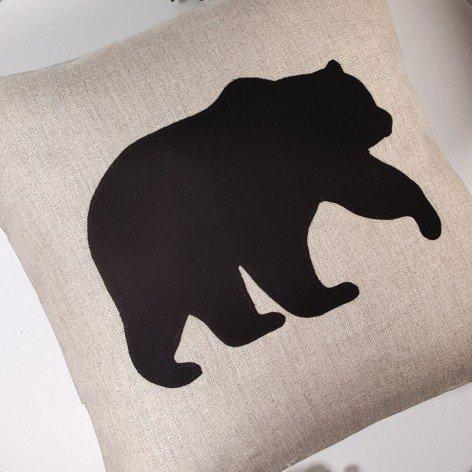 Housse de coussin en lin naturel 40x40 cm ours brun