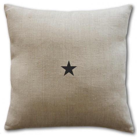 housse de coussin lin naturel  40x40 cm motif étoile noire