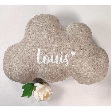 Coussin nuage personnalisé en lin naturel