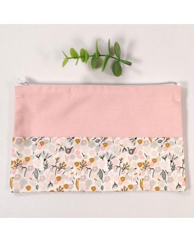 Pochette bicolore en coton fleuri et coton rose
