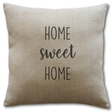 housse coussin lin home sweet home 40x40 cm