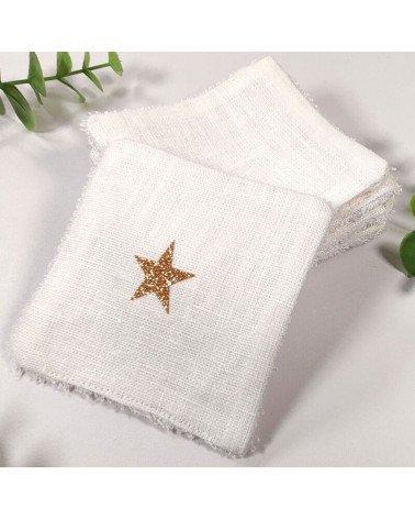 Carrés démaquillants lavables en lin blanc et éponge bambou
