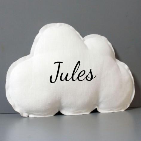 Coussin nuage personnalisé en lin blanc bords bruts