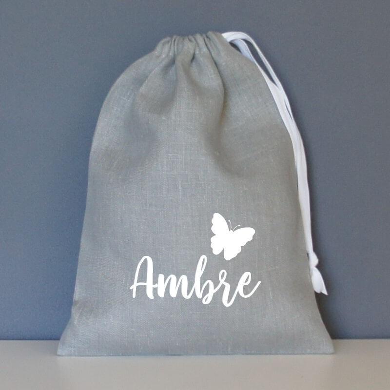 sac pochon personnalisé en lin gris