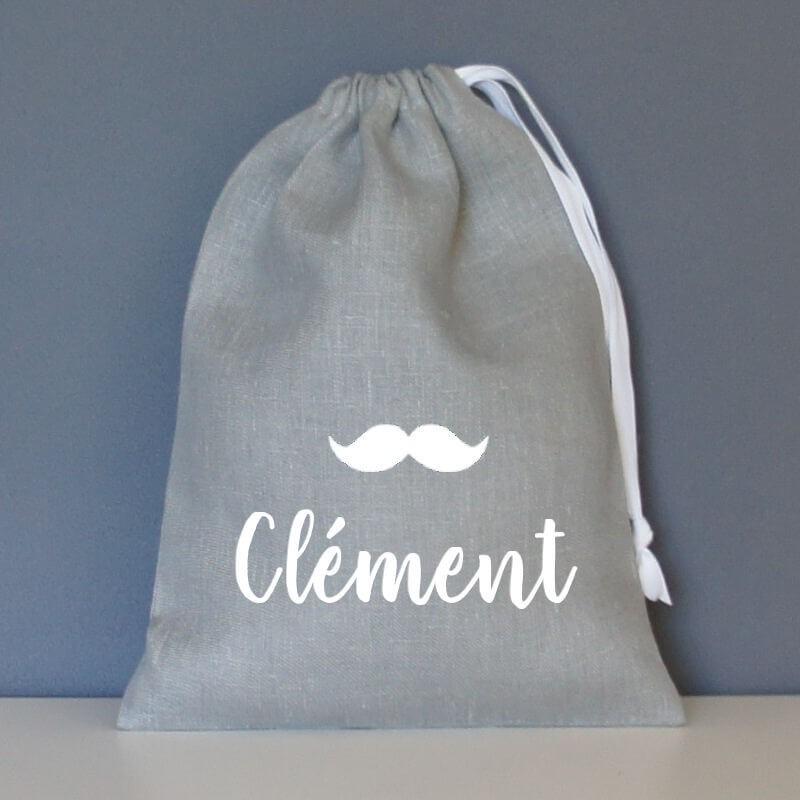 pochon personnalisé moustache lin gris clair