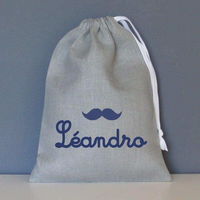 pochon personnalisé moustache en lin gris