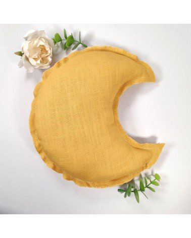 coussin lune murale moutarde