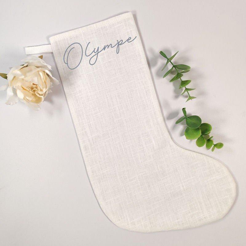 Chaussette de Noël personnalisée en lin blanc