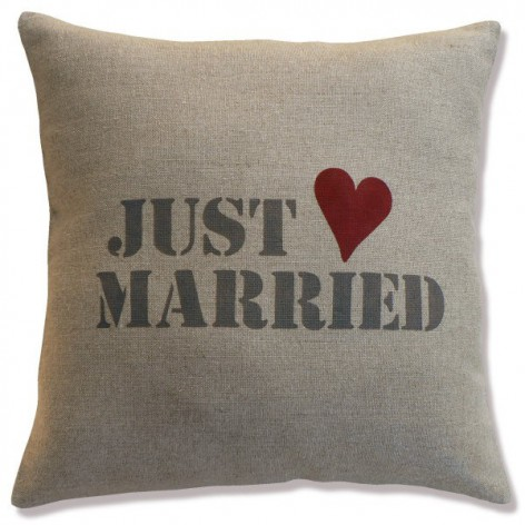 """coussin lin inscription """"just married"""""""