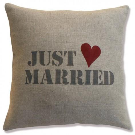 Housse de coussin en lin Just Married