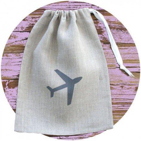 Pochon en lin avion