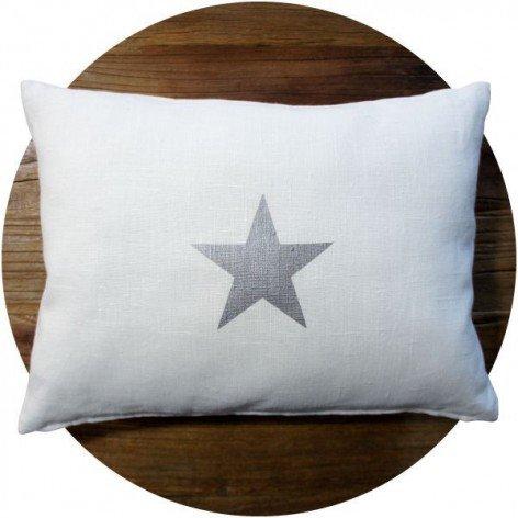 coussin lin blanc motif étoile argent