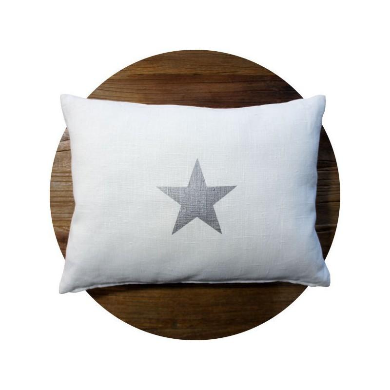 coussin-lin-blanc-étoile-argent